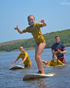 Her first time standing-up on the surfboard!