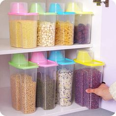 S/L Kitchen Food Cereal Grain Bean Rice Plastic Storage Container Box New Cereal Storage, Sugar Storage, Dry Food Storage, Storage Container Homes, Plastic Container Storage, Food Storage Containers, Cool Kitchen Gadgets, Cool Kitchens, Kitchen Organization