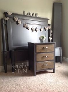 Lane Queen bed & Drexel nightstand painted a Benjamin Moore Iron Mountain.  Love the way this color changes depending on the lighting,
