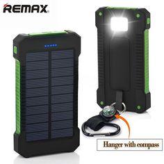 Solar Power Bank 20000mAh Dual USB Power Bank Waterproof Li-Polymer Powerbank External Portable Solar Panel with LED Light