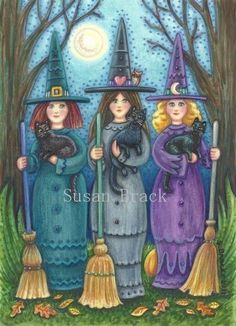 "Magick Wicca Witch Witchcraft: ""Black Hat Society,"" by Susan Brack. Witch Pictures, Halloween Pictures, Holidays Halloween, Halloween Themes, Vintage Halloween, Halloween Crafts, Happy Halloween, Halloween Decorations, Pretty Halloween"