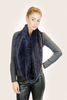 JESSIMARA NAVY KNITTED RABBIT DOUBLE SNOOD Rabbit Fur, Knitwear, Navy, Coat, How To Wear, Sewing Coat, Tricot, Coats, Knitting