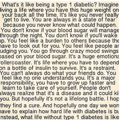 I'll never know what it is like to have Type 1 Diabetes, but I do know what it is like to be a caregiver to a child with Type 1 diabetes!!!