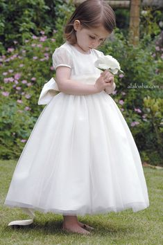 6309be15a2c Flower girl dress inspiration  Traditional style flower girl dress with  sash and bow. Flower