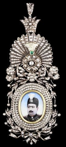 An exceptionally rare and fine gem-set rose-gold Insignia of the Qajar Order of the Imperial Effigy depicting Muhammad 'Ali Shah Qajar (r. 1907-09) Persia, 1907-09