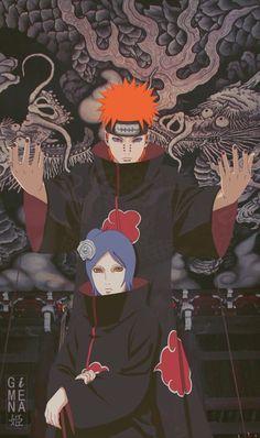 Pain e Konan Naruto Shippuden Sasuke, Naruto Kakashi, Anime Naruto, Fan Art Naruto, Pain Naruto, Wallpaper Naruto Shippuden, Naruto Wallpaper, Sasuke Sarutobi, Otaku Anime