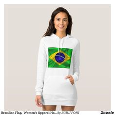 Brazilian Flag,  Women's Apparel Hoodie Dress