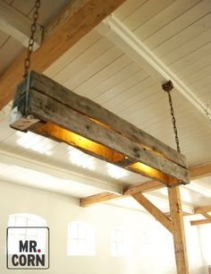 After a life of hard work Ive converted these old pallets into a pendant light. The combination of robust wood, steel rusted chains and clothed