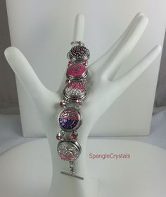 Custom Breast Cancer Pink Crystal 5 Interchangeable Spangle Snap Bracelet with Double Pink Star Link and adjustable toggle clasp. by SpangleCrystals on Etsy