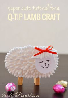 Use this adorable q-tip lamb craft as a place card holder, set up a few in a spring display on the mantle or just make it as a fun activity with your kids!