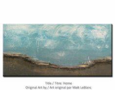 Textured Abstract Landscape Art Huge Contemporary Minimalist Original Painting 24x48. $350.00, via Etsy.