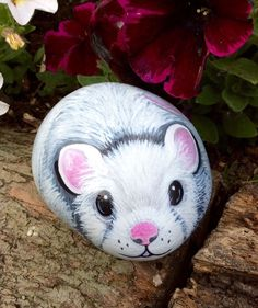 painted pebble pet mouse garden rock art More