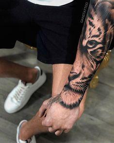 Half tiger head tattoo on forearm Tiger Forearm Tattoo, Tiger Eyes Tattoo, Cat Eye Tattoos, Tiger Tattoo Sleeve, Lion Head Tattoos, Forearm Sleeve Tattoos, Best Sleeve Tattoos, New Tattoos, Half Sleeve Tattoos For Guys