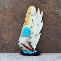 Zuni Fetish-Zuni CORN MAIDEN-OLLA Maiden-Zuni Carving-Mother of Pearl,Turquoise-2 Sided by AndTheCrow