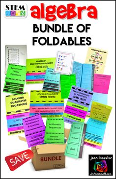 Just what you were looking for, all in one place! This bundle includes 14 of my popular foldable and flip book graphic organizers for Algebra. Some have task cards included as a bonus. There are over 160 pages jammed packed with great activities.
