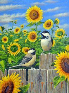 Chickadees and Sunflowers