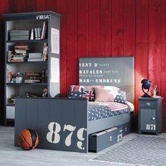 Grijs houten bed 90 x 190 cm Cargo | Maisons du Monde