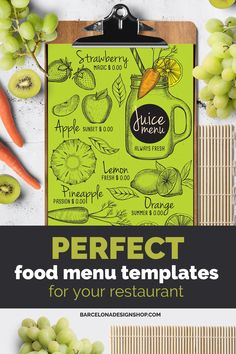 All food menus Archives - Barcelona Design Shop Food Menu Design, Food Truck Design, Restaurant Menu Design, Restaurant Branding, Food Menu Template, Menu Templates, Steak Menu, Juice Menu, Japanese Menu
