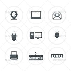 Abstract Computer Icon Set by pathakdesigner abstract computer icon set vector illustration eps8,ai included, rgb colour