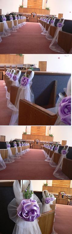 Ribbons and Bows 20941: Wedding Decoration Set Of 6 Lavender Pew Bows Chair Bows White Aisle, Arch Decor -> BUY IT NOW ONLY: $85.5 on eBay!