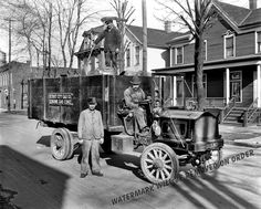 Detroit City Gas Company gas coke delivery wagon and workers. Circa There are some interesting details on the Packard truck they're driving. Particularly the wood framed glass windshield and the squeezable bulb horn. Antique Trucks, Vintage Trucks, Old Trucks, State Of Michigan, Detroit Michigan, Detroit State, Flint Michigan, Shorpy Historical Photos, Historical Pictures
