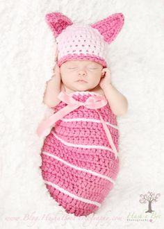 Adorable Newborn Dark Pink and Light Pink Piglet Hat and Cocoon Pod with Clip on Bow (Pooh available as well)