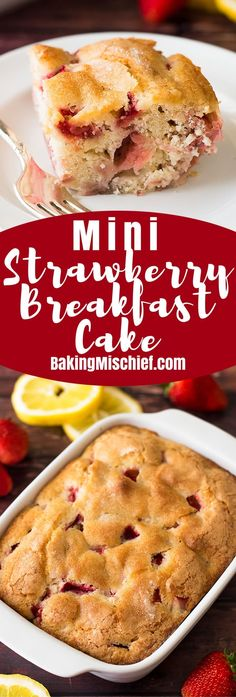 This mini strawberry Breakfast Cake is one of my favorite breakfasts for two. It's simple, easy to throw together, and absolutely delicious!