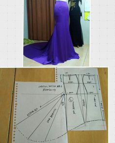 diy dress skirt pattern making - PIPicStatsThe long arrows are actually indicating a fold, I think!Discover thousands of images about Pola rokSemi-tail skirt - Do it Yourself Clothesfind more at Dress Sewing Patterns, Clothing Patterns, Fashion Sewing, Diy Fashion, Sewing Clothes, Diy Clothes, Robe Diy, Costura Fashion, Pola Rok