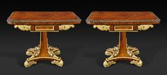 A Pair Of Regency Rosewood And Parcel Gilt Games Tables, circa 1815   From a unique collection of antique and modern game tables at https://www.1stdibs.com/furniture/tables/game-tables/