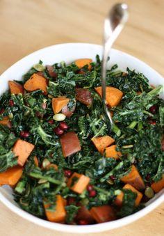 Roasted Spiced Sweet Potato and Kale Salad | VeguKate