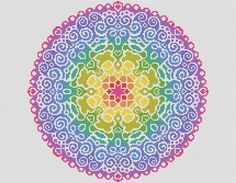 PATTERN Spectral Mandala Cross Stitch Chart Easy and