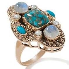 Nicky Butler Turquoise with Simulated Copper Matrix and Moonstone Bronze Ring at HSN.com.