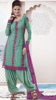 $76.64 Green Full Sleeve Faux Georgette Knee Length Punjabi Salwar Kameez 18874