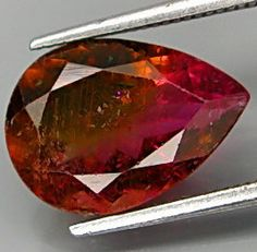 Pink Green and Orange Tri-Color Tourmaline Pearshape 11 x 8 MM 2.63 Ct New Find