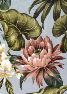 Botanical Hawaiian fabric with Protea flowers from http://BarkclothHawaii.com