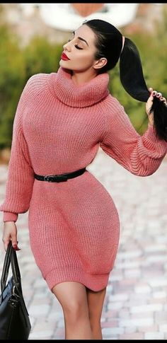 Fluffy Sweater, Pink Sweater, Sweater Outfits, Sweater Dresses, Crop Top Sweater, Long Sleeve Sweater Dress, Thick Sweaters, Turtle Neck, Womens Fashion