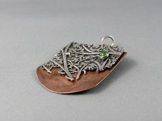 Organic silver and copper art pendant with by nataliasjewellery, $185.00