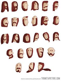 Beard alphabet.. @Laura Julien