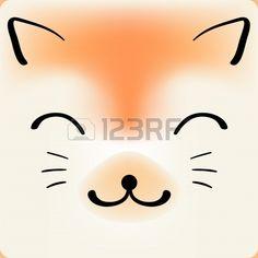 masque chat: Chat mignon dessin animé visage vecteur de fond, une carte