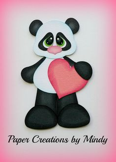 Craftecafe Mindy Love Valentines Panda premade paper piecing for scrapbook page