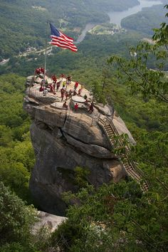Chimney Rock State Park, NC; Chimney Rock - The 535-million-year-old monolith for which the Park is named, is considered one of the most iconic sites in North Carolina. From its top, you'll soak in the 75-mile panoramic views of Hickory Nut Gorge and Lake Lure. / July 1st