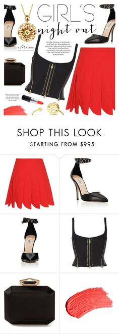 """""""Girls' Night Out: Summer Edition"""" by totwoo ❤ liked on Polyvore featuring Miu Miu, Valentino, Alexander McQueen and MAC Cosmetics"""