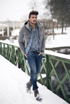 Men's Fall winter/ trends/ 2014-2015/ jacket/ jean/ denim/ multiple/ layered/ layers