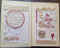 Freckles and Flowers blog. Paula Watkins. Altered Book: Songs of Innocence. Hand stitching on vintage linen.