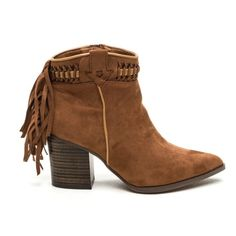 """Brown Fringe Suede Cowgirl Boots with Pointy Toe Pointy vegan suede cowgirl booties chunky heel with wood grain surface. There is fringe down back with tribal detail round ankle. Heel height: 3"""" Shoes Ankle Boots & Booties"""