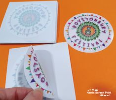 Full colour round car window stickers printed full colour for the Roystonbury Festival 2021. The car window stickers are circle cut, and supplied on their own individual square backing sheets, making them ideal to post out in advance or hand out at the Festival. Car Window Stickers, Screen Printing, Windows, Colour, Printed, Screen Printing Press, Color, Silk Screen Printing, Prints