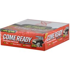 Come Ready Full Size Protein Bars Cookies & Cream 76 g 12 ct* | $33.48 | OvernightSupplements.com | #onSale #supplements #specials #ComeReadyNutrition #ProteinBars  | It Tastes That Good Collegiate Compliant New Performance Protein Bar w Whey Protein 24g Protein 5g Fiber 18 Vitamins and Minerals No Aftertaste These statements have not been evaluated by the FDA This product is not intended to diagnose treat cure or prevent any disease