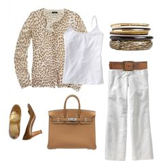 So crisp and summery. Leopard cardigan by J.Crew is sold out:( but we could replicate that pretty easy:)