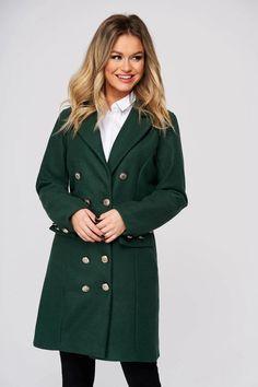 Palton SunShine verde petrol casual scurt din stofa cu un croi cambrat - Smart Shopping Online Casual, Coat, Jackets, Shopping, Fashion, Green, Down Jackets, Moda, Sewing Coat