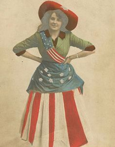 Free Printable Victorian Patriotic Woman Post Card - Fourth of July craft and decor